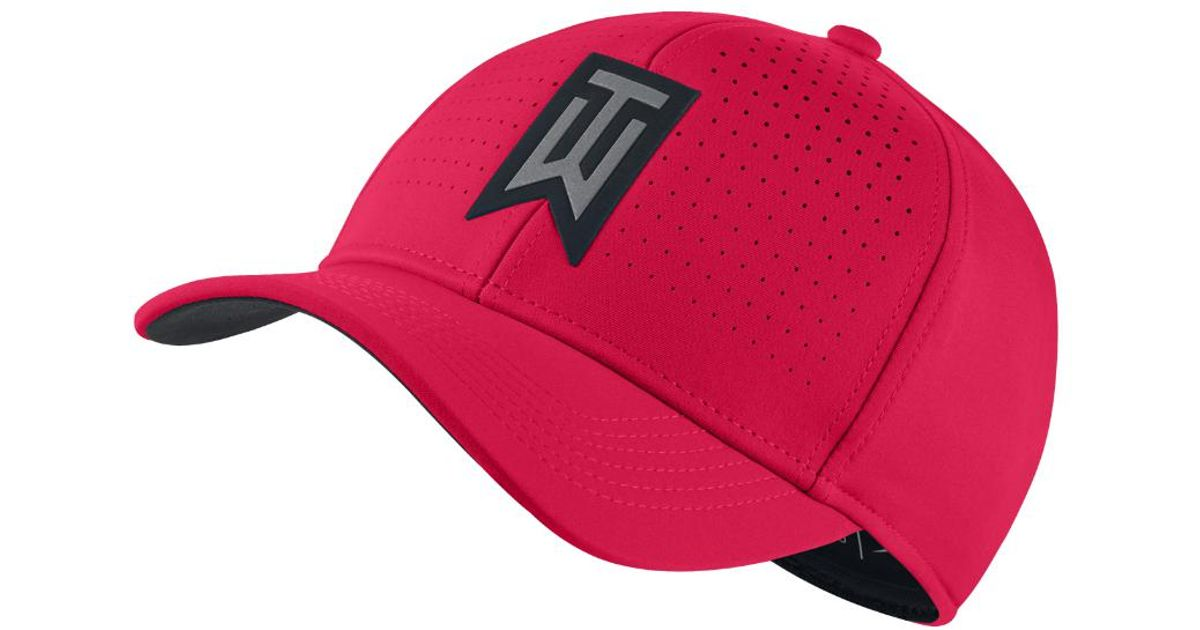 info for 4c015 4547d Lyst - Nike Tw Classic 99 Statement Fitted Golf Hat in Red for Men