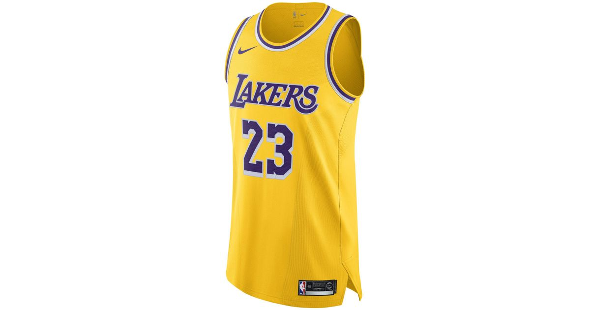 official photos b2bbd f2106 Nike - Yellow Lebron James Icon Edition Authentic (los Angeles Lakers) Nba  Connected Jersey for Men - Lyst
