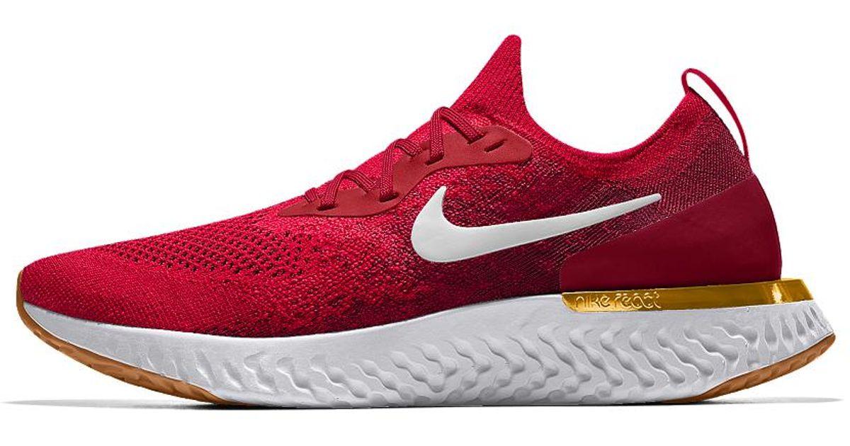 efc37a63f53 Lyst - Nike Epic React Flyknit Id Women s Running Shoe in Red