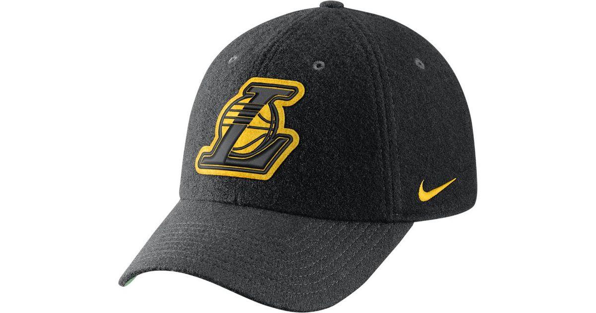 Lyst - Nike Los Angeles Lakers Heritage86 Nba Hat (black) in Black for Men 732c80564
