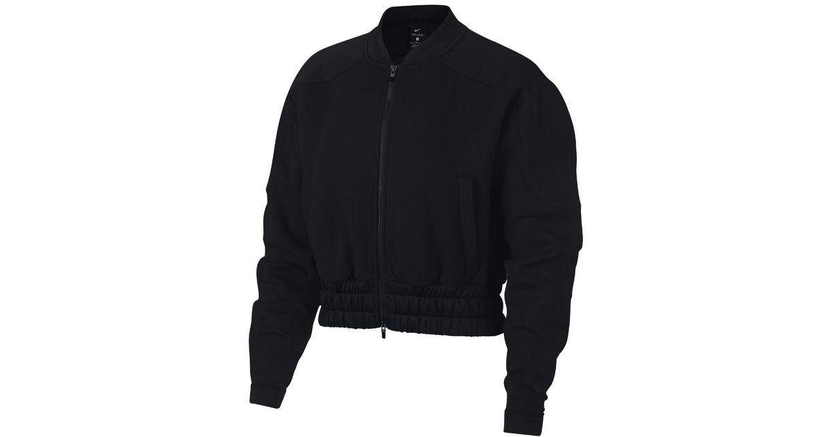 eb99f7badd2c Lyst - Nike Dri-fit Women s Full-zip Training Bomber Jacket in Black