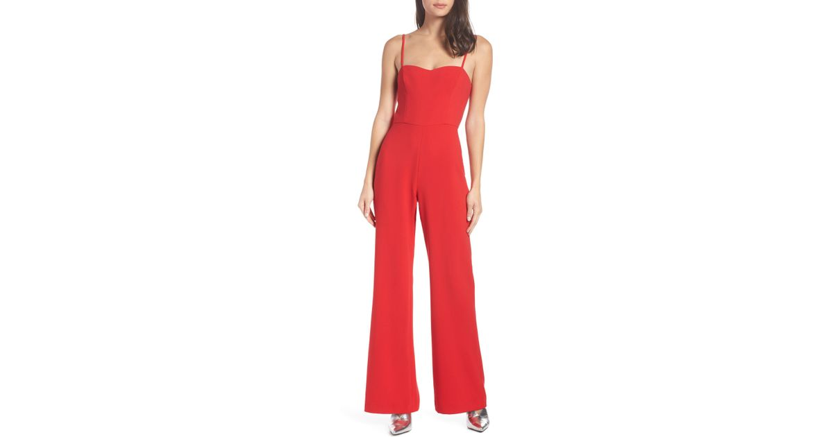 3800bb80bb9 Lyst - French Connection Black Lace And Sheer Fitted Straight Leg Jumpsuit  in Red - Save 72%