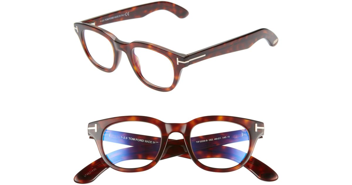 97601445ebe1 Lyst - Tom Ford 46mm Blue Light Blocking Glasses - Shiny Black  Rose Gold  in Metallic