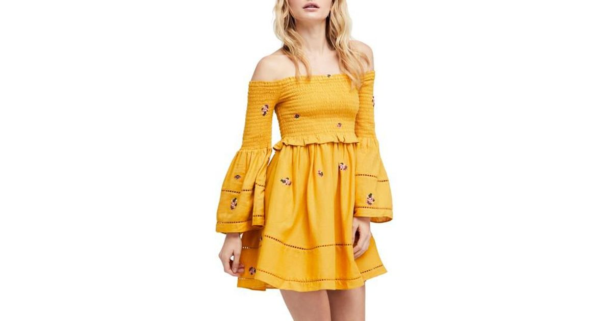 b404c8ab8669a Lyst - Free People Counting Daisies Embroidered Off The Shoulder Dress in  Yellow