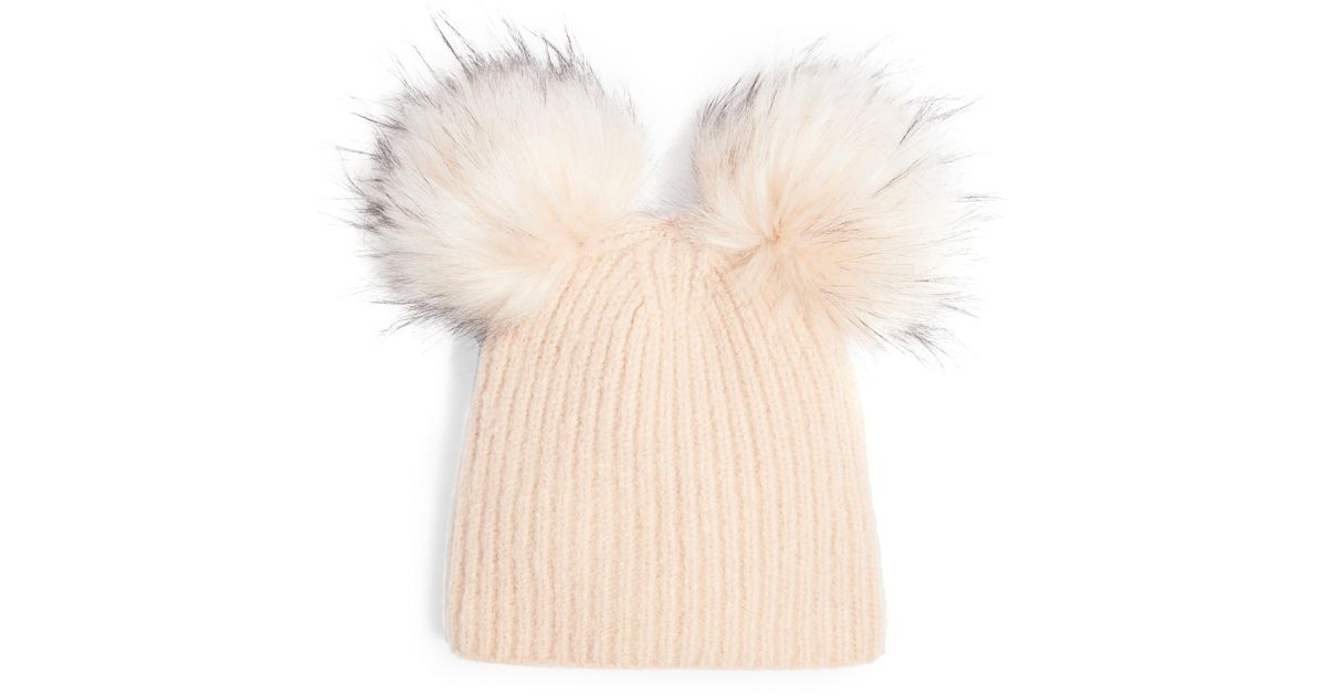 b6b707d2809 Lyst - TOPSHOP Faux Fur Double Pompom Beanie in Natural