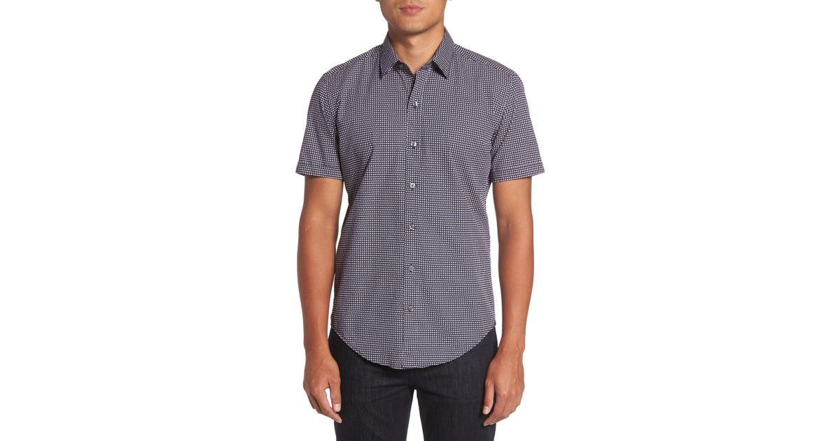 602e5ed8 Lyst - BOSS Robb Sharp Fit Micro Print Sport Shirt in Blue for Men