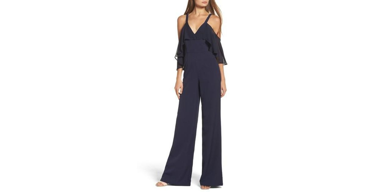 19a6b06297aa Lyst - Jay Godfrey Oliver Cold Shoulder Ruffle Jumpsuit in Blue