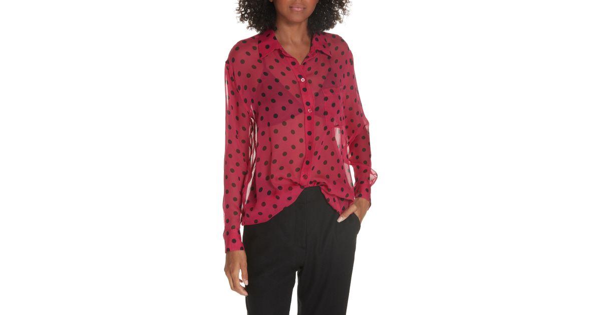 753e6694bc616c Lyst - Equipment Daddy Polka Dot Silk Shirt in Red