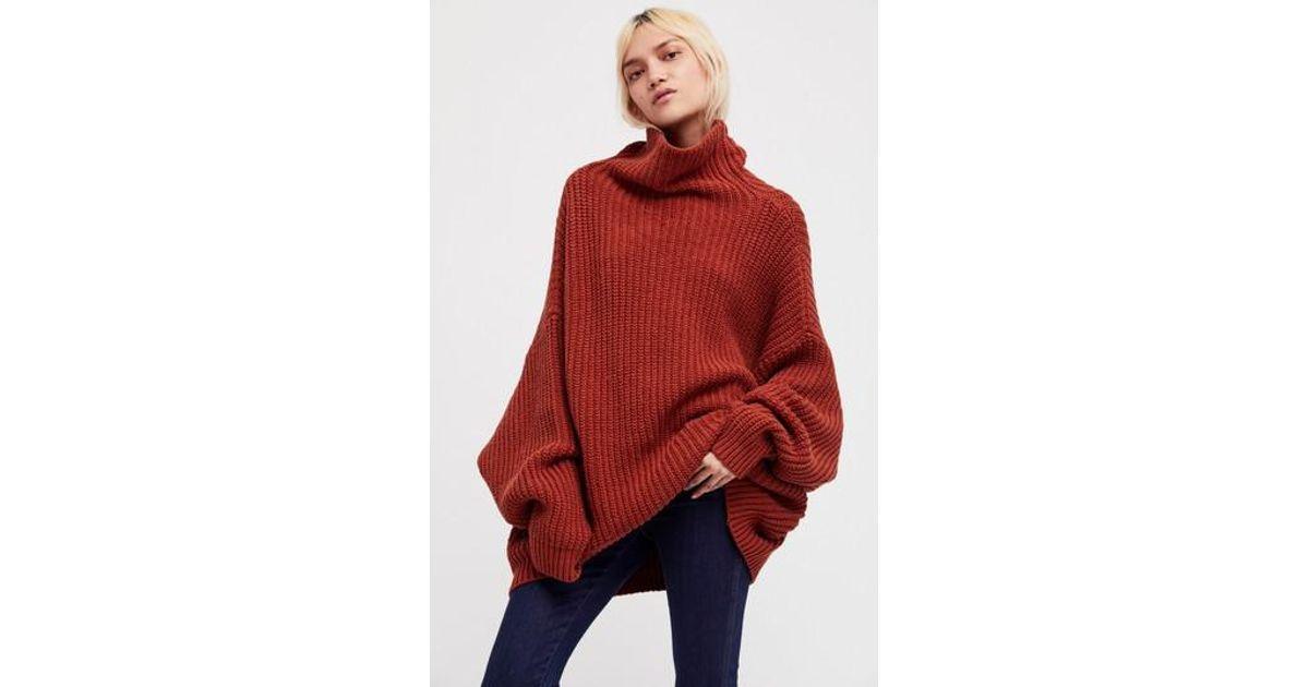 Lyst Free People Swim Too Deep Turtleneck Sweater In Red