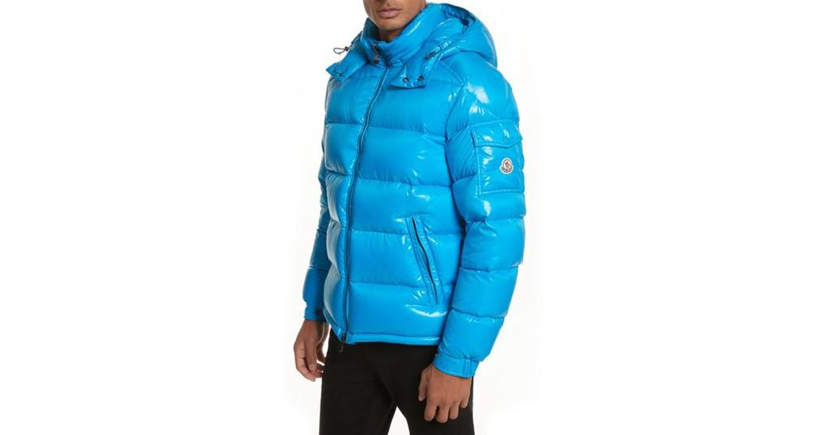 ... lyst moncler maya lacquered down jacket in blue for men
