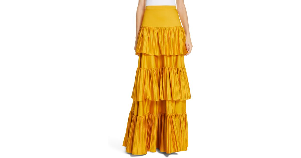 e9832d853995 Lyst - AMUR Mila Stretch Organic Cotton Tiered Maxi Skirt in Yellow