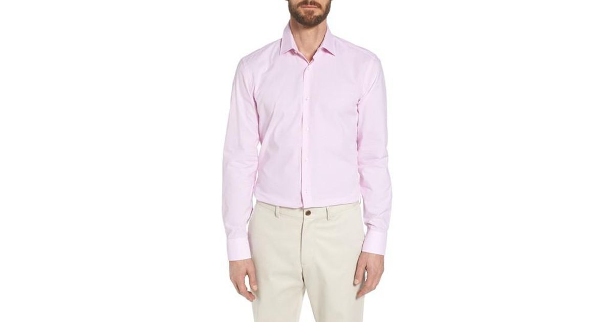 0158039d Lyst - BOSS Jesse Slim Fit Check Dress Shirt in Pink for Men