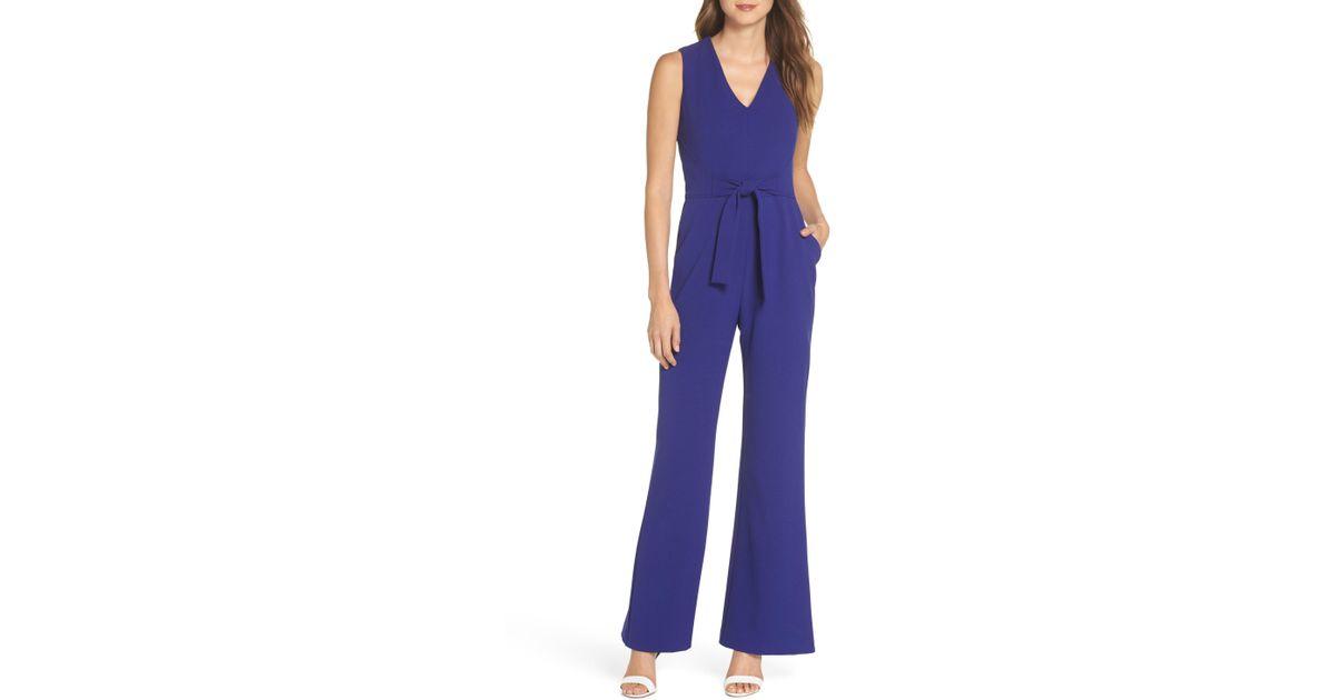 f608c2daabd Lyst - Vince Camuto Tie Waist Crepe Jumpsuit (regular   Petite) in Blue -  Save 60%