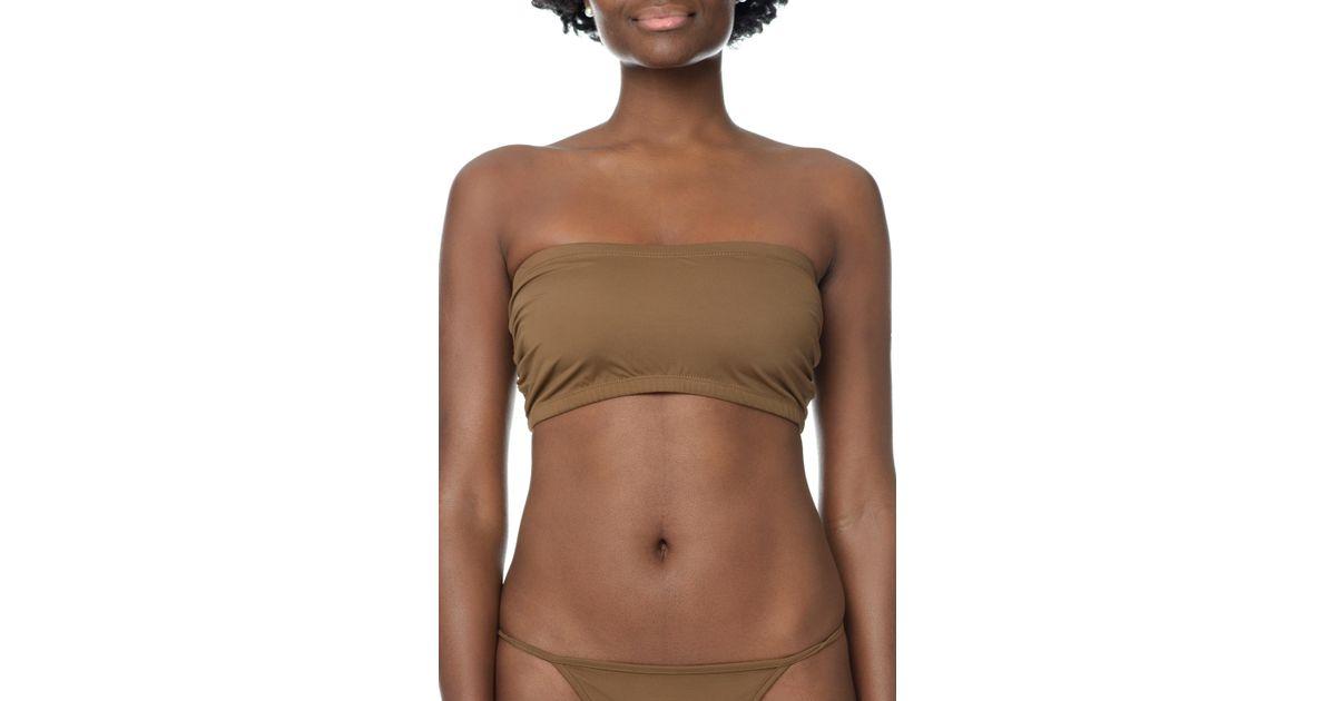 9b55bd9011 Lyst - Nubian Skin Naked Bandeau in Brown