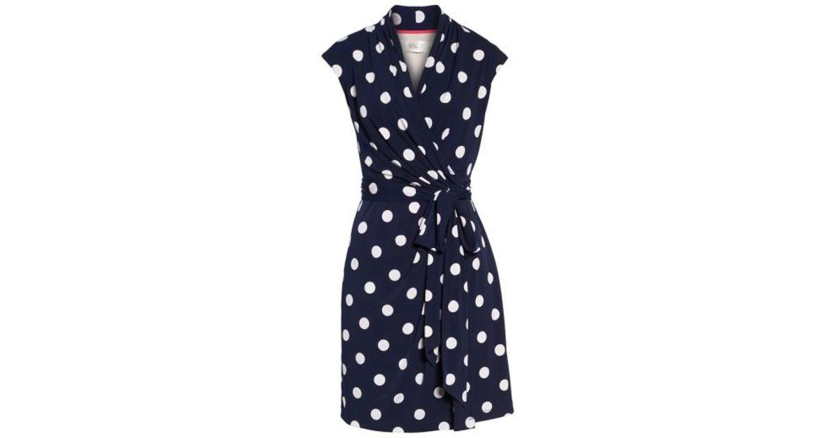 4947874d27b2 Lyst - Eliza J Polka Dot Jersey Faux Wrap Dress in Blue