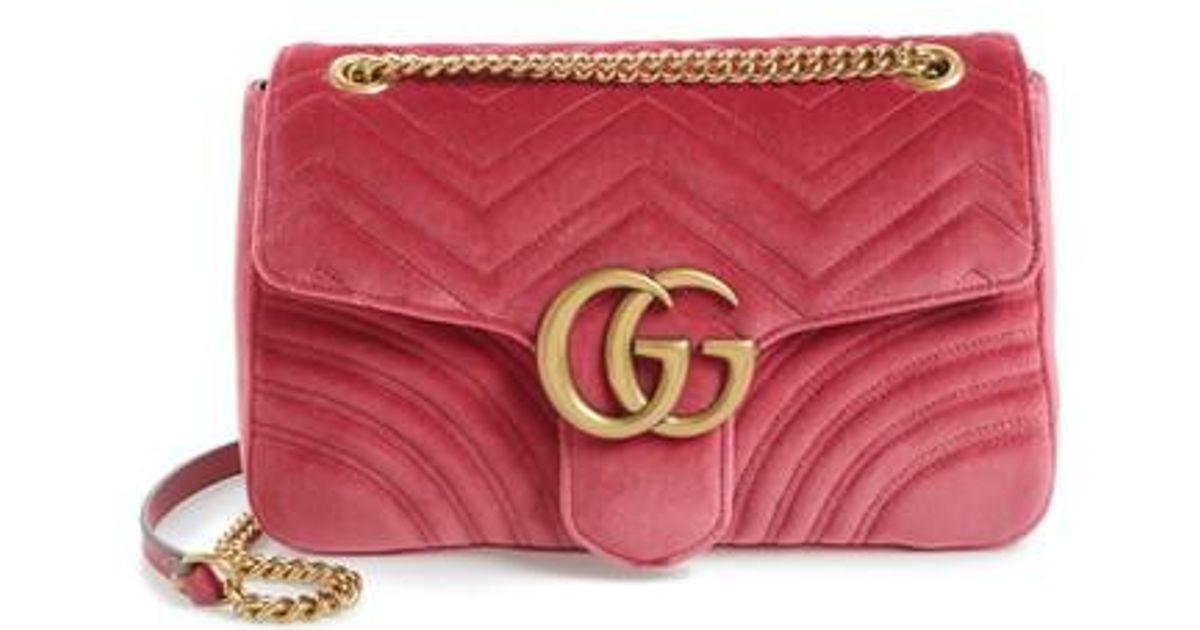39407eb1ecb1 Gucci Medium Gg Marmont 2.0 Matelassé Velvet Shoulder Bag in Purple - Lyst