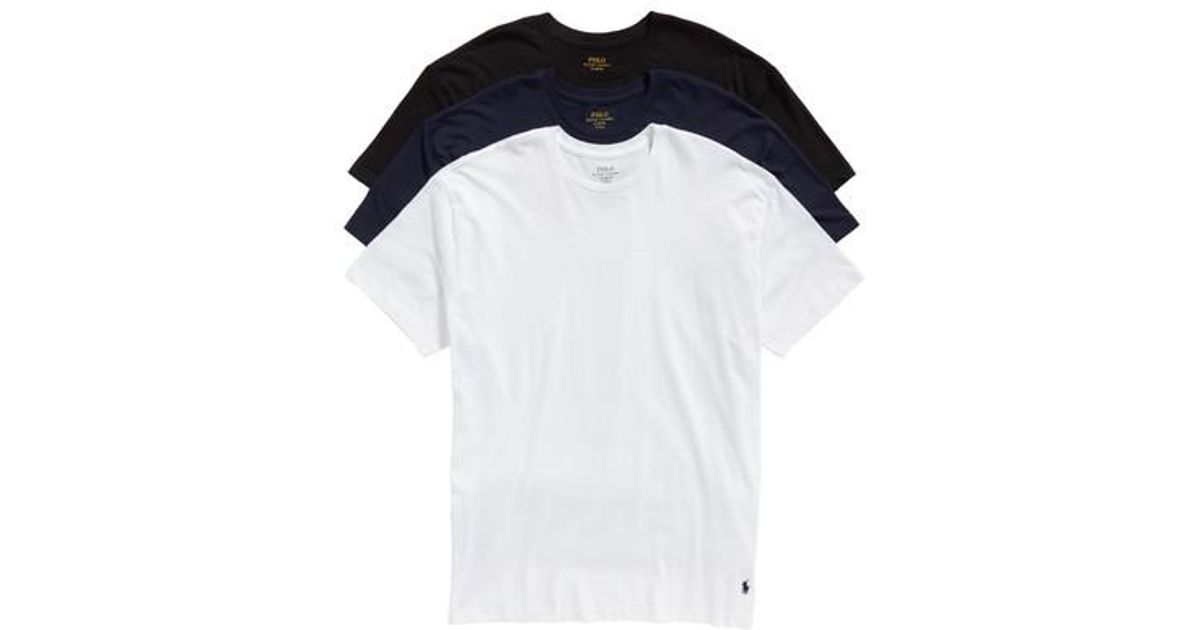 Lyst Polo Ralph Lauren Classic Fit 3 Pack Cotton T Shirt White In