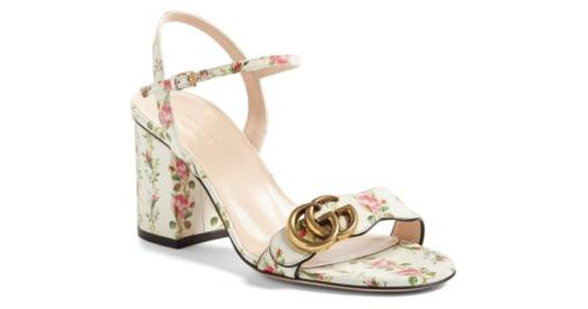 7f661619fb3 Lyst - Gucci Gg Marmont Block Heel Sandal in White