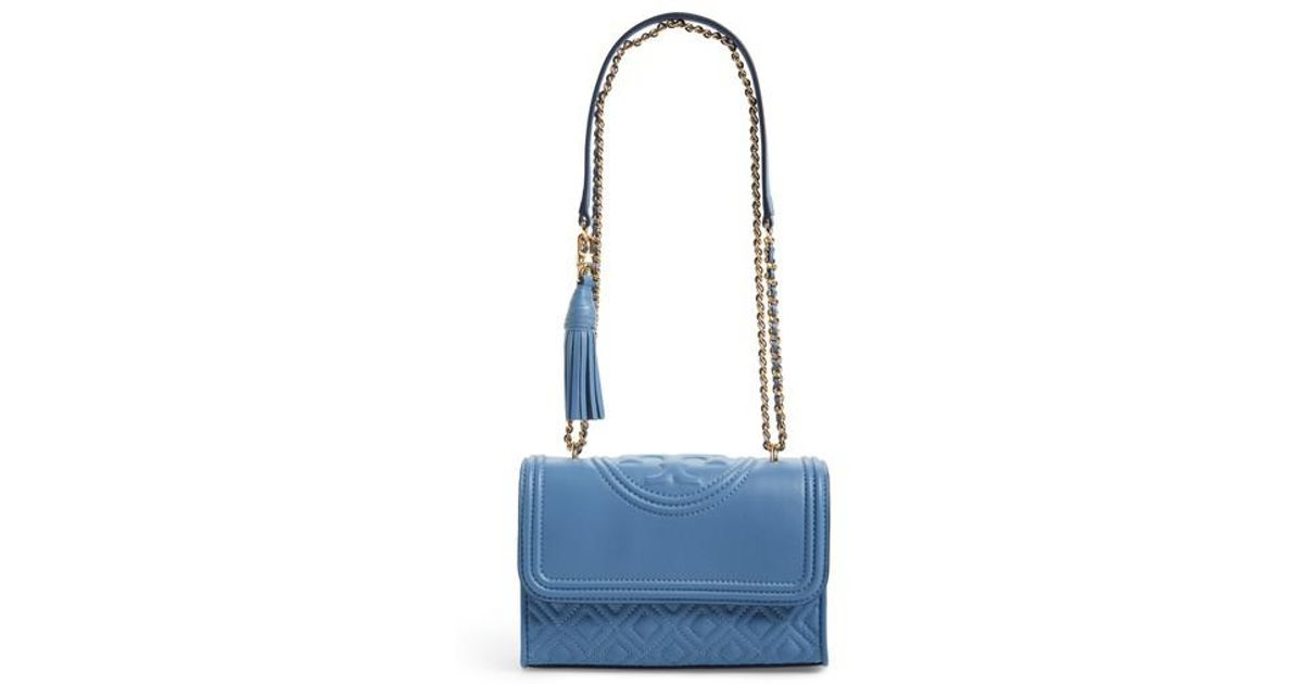 04be1dd7ec1 Lyst - Tory Burch Fleming Convertible Leather Shoulder Bag in Blue