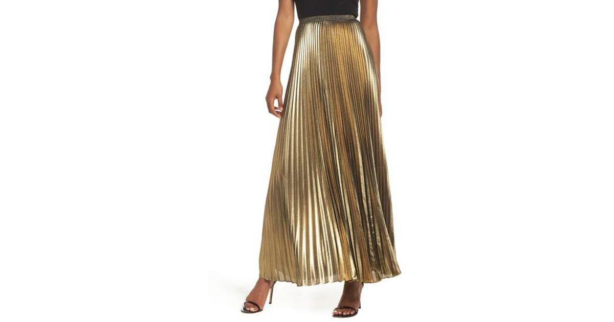 125ff9ac0d4cc Lyst - Eliza J Metallic Pleat Maxi Skirt in Metallic