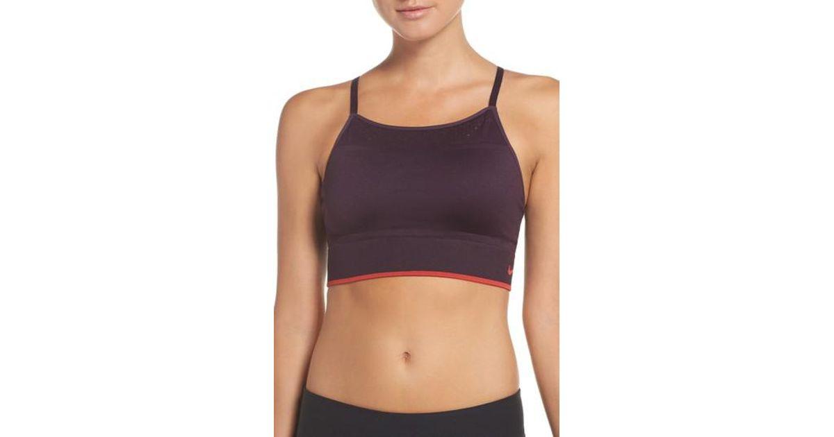 0665fee5b0 Lyst - Nike Seamless Bralette in Purple