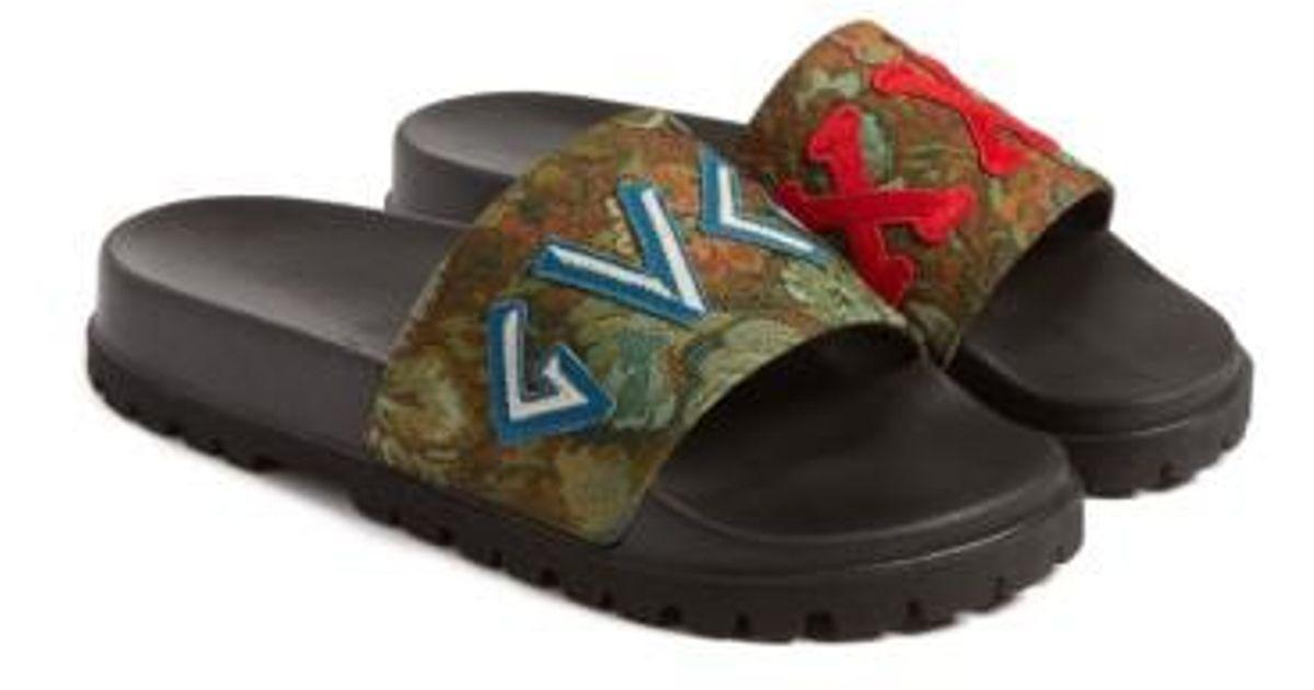 9d3501915e1 Lyst - Gucci  pursuit Treck  Slide Sandal in Green for Men