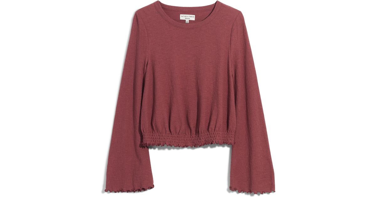 a35d3cc810 Lyst - Madewell Texture   Thread Smocked Bell Sleeve Top in Red