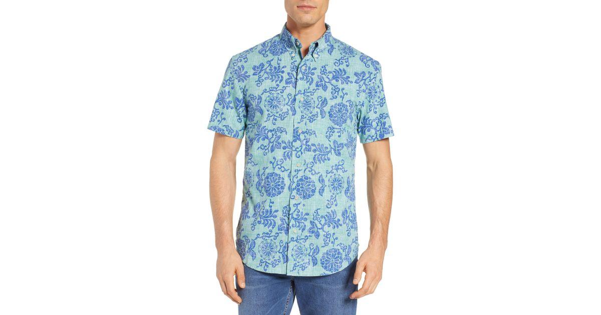 7bdd504e Lyst - Reyn Spooner Royal Chrysanthemums Regular Fit Sport Shirt in Blue  for Men