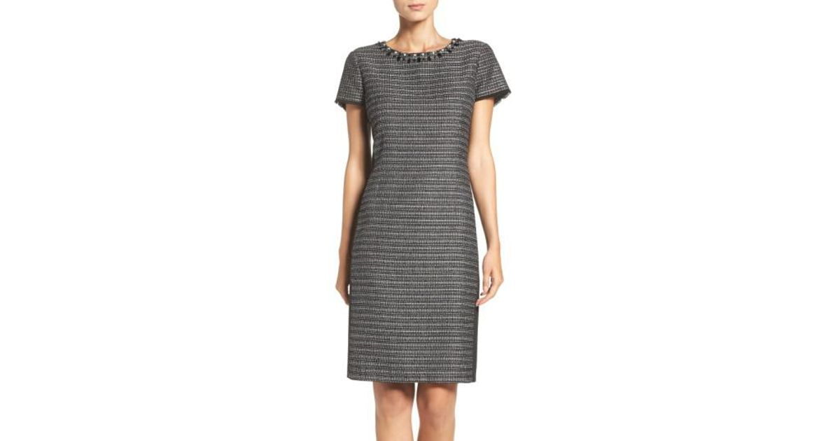 8d372427 Lyst - Ellen Tracy Embellished Tweed Shift Dress in Gray