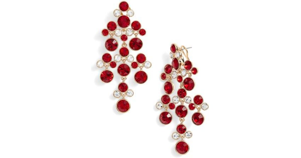 Lyst givenchy crystal chandelier earrings in red aloadofball Image collections