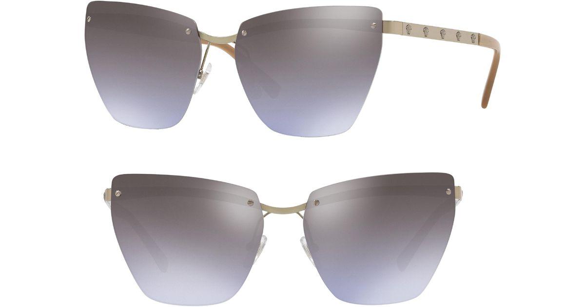 abc1ebb18c4a8 Lyst - Versace Medusa 58mm Metal Cat Eye Sunglasses - in Gray