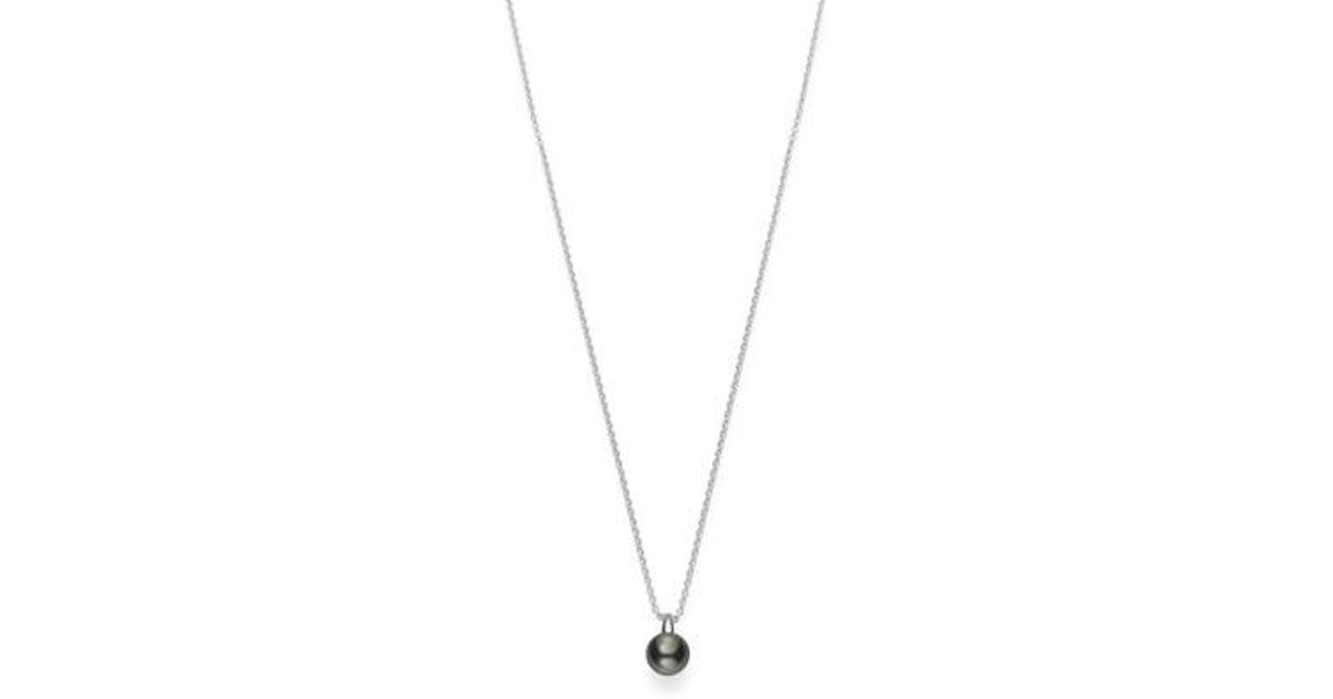 Lyst mikimoto classic black pearl pendant necklace in metallic aloadofball Gallery