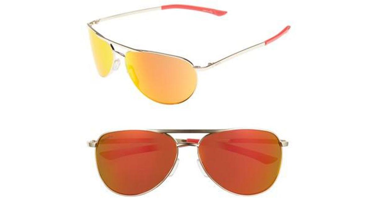 6d4e9cde49b Lyst - Smith Serpico Slim 2.0 60mm Chromapop Polarized Aviator Sunglasses -