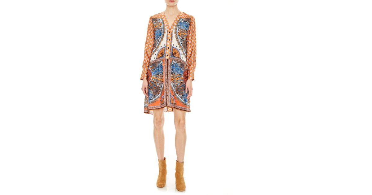 f3b5d4e07d7 Lyst - Sandro Hoani Pattern Mix Long Sleeve Shirtdress