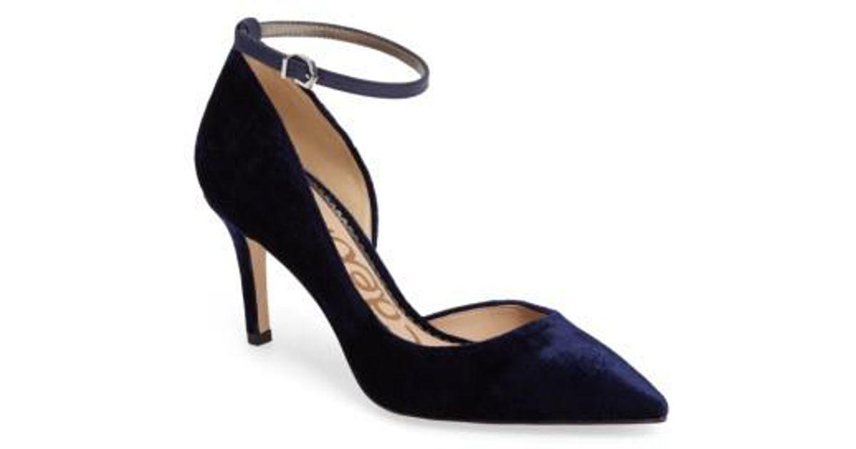 74997941f7dc Lyst - Sam Edelman Tia Ankle Strap Pump in Blue