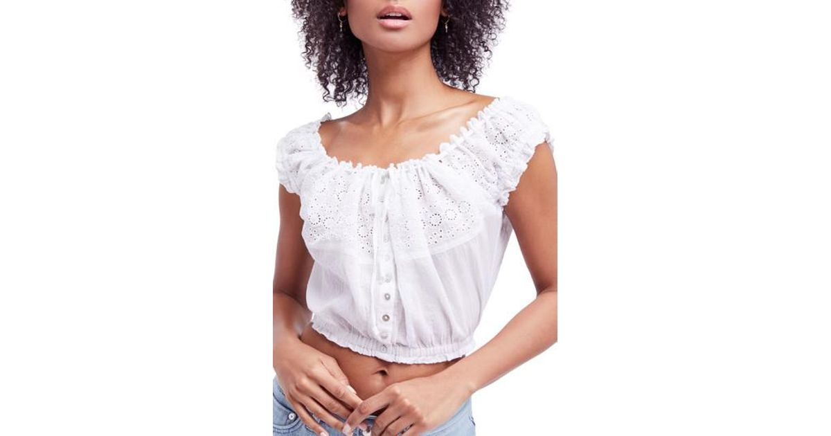 5d7c0ebea7 Lyst - Free People Eyelet You A Lot Top in White
