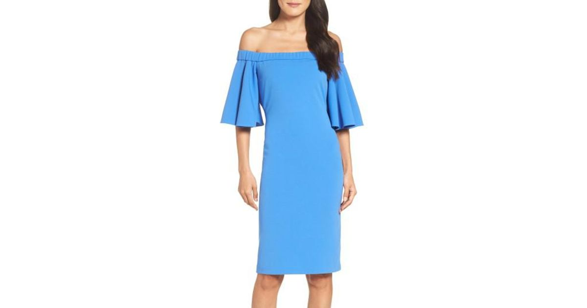 3c714f34 Eliza J Off The Shoulder Sheath Dress in Blue - Lyst