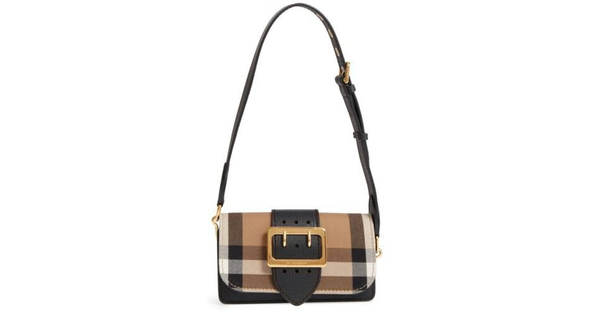 937f74df364a Lyst - Burberry Small Buckle House Check   Leather Convertible Clutch in  Black