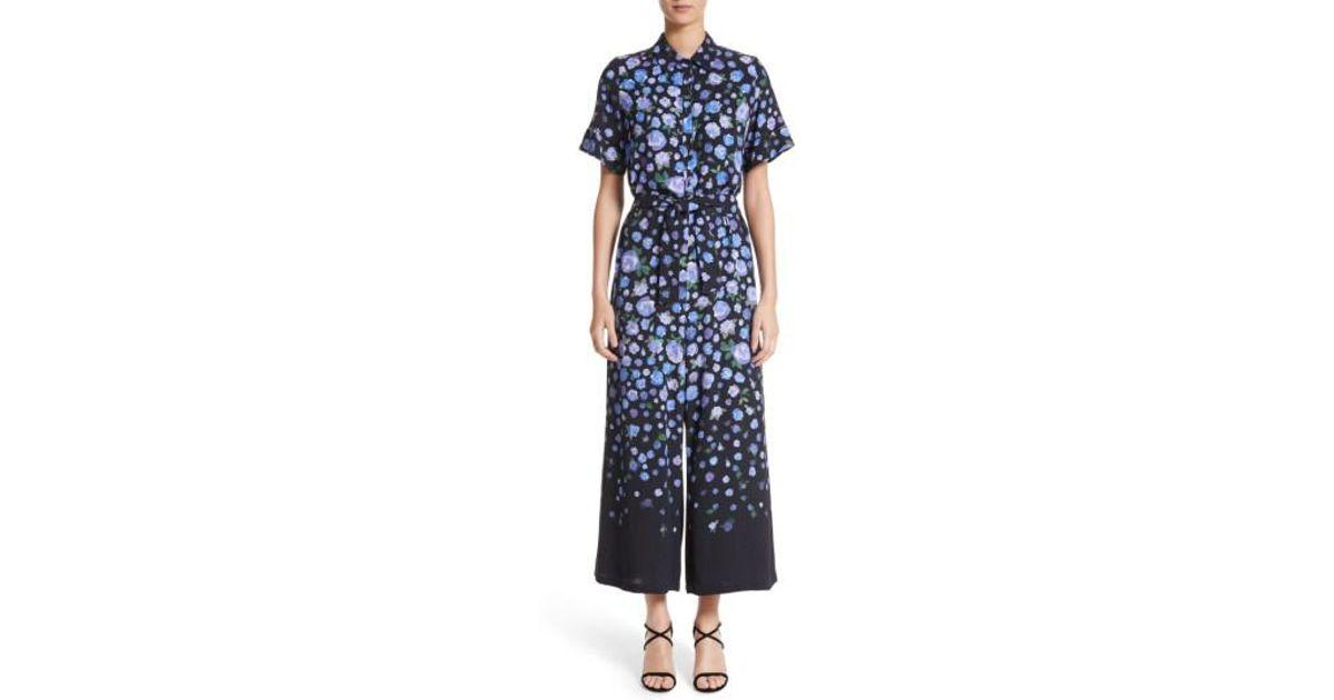 47865a5f36a Lyst - Lela Rose Floral Print Wide Leg Jumpsuit in Black
