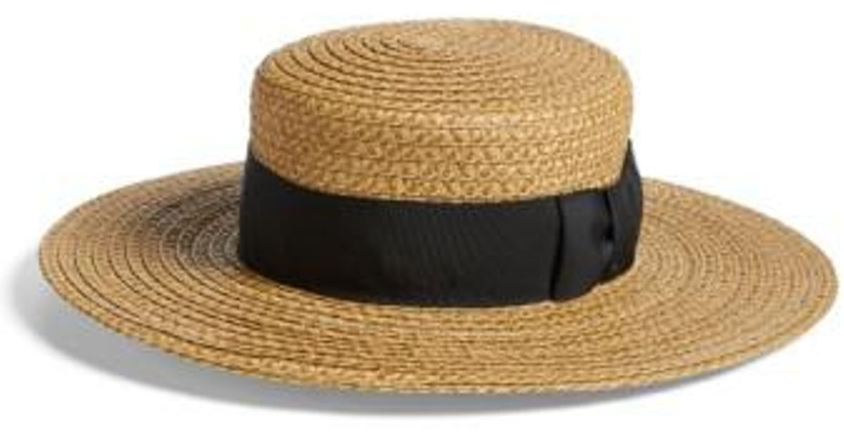 8684f3b90c458 Lyst - Eric Javits  gondolier  Boater Hat in Brown