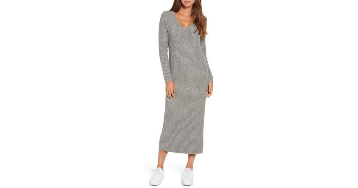 158d44b3aba Treasure   Bond Ribbed Maxi Sweater Dress in Gray - Lyst