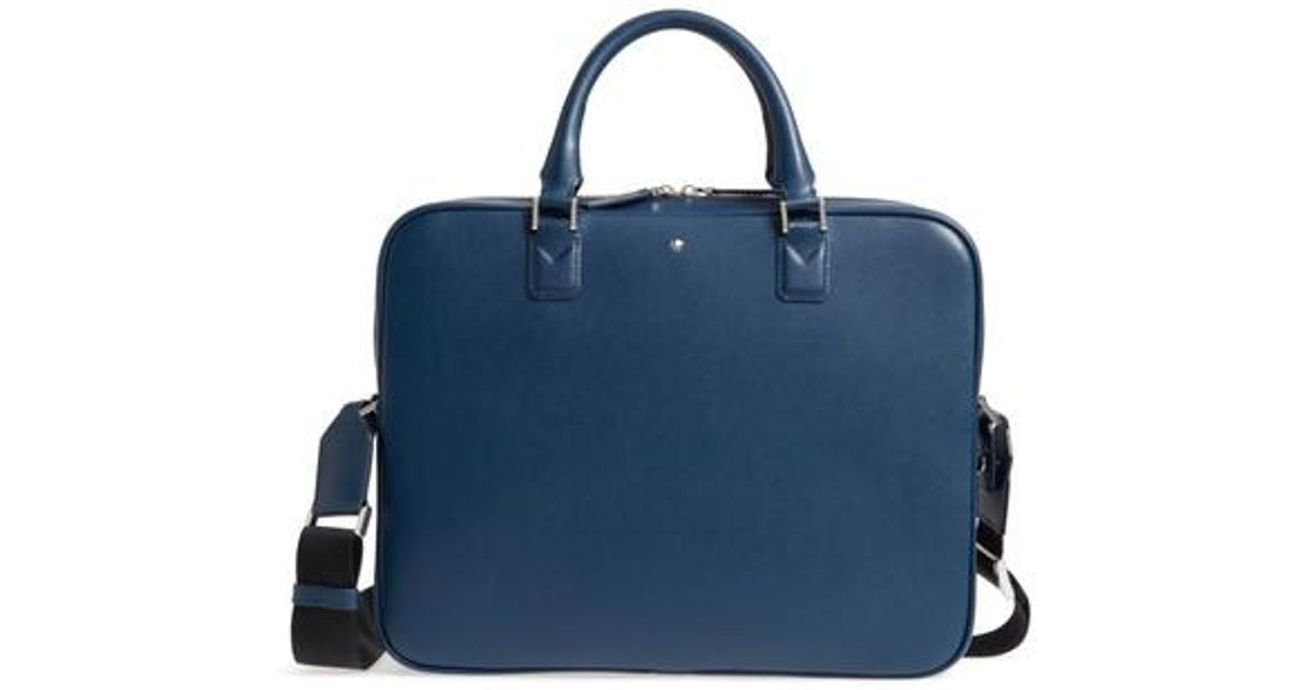 21bb205a96 Montblanc Sartorial Collection Leather Briefcase in Blue - Lyst