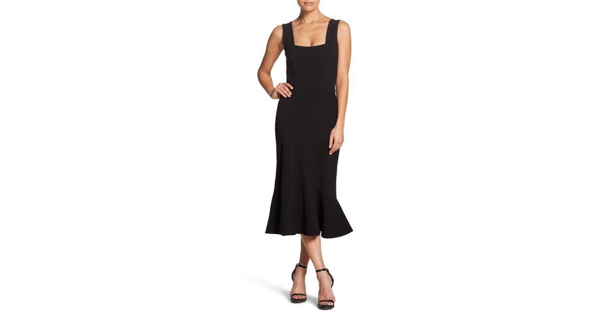 73c2226f5900 Dress the Population Monica Tea Length Trumpet Dress in Black - Lyst