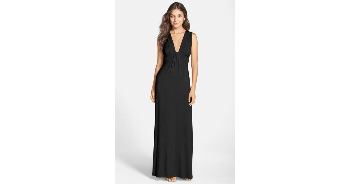 bd2db22891 Lyst - Fraiche By J V-Neck Jersey Maxi Dress in Black - Save 40%