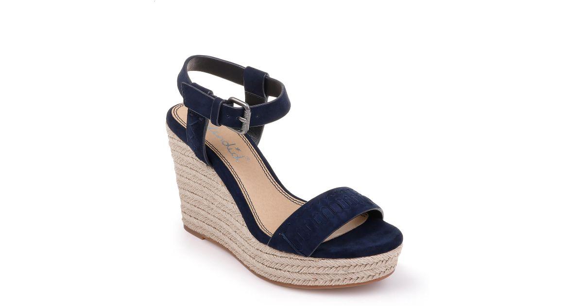 c9b9aa6c40d Lyst - Splendid Shayla Woven Wedge Sandal in Blue
