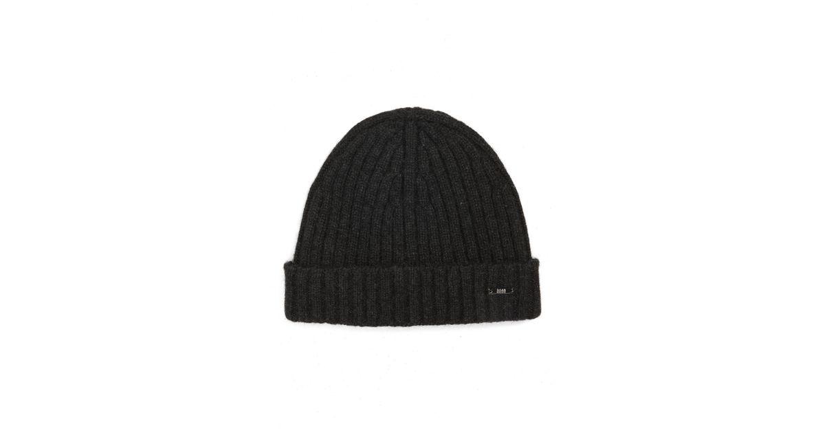 2c34c8f7220d5 Lyst - BOSS T-eraffaelo Cashmere Beanie in Black for Men