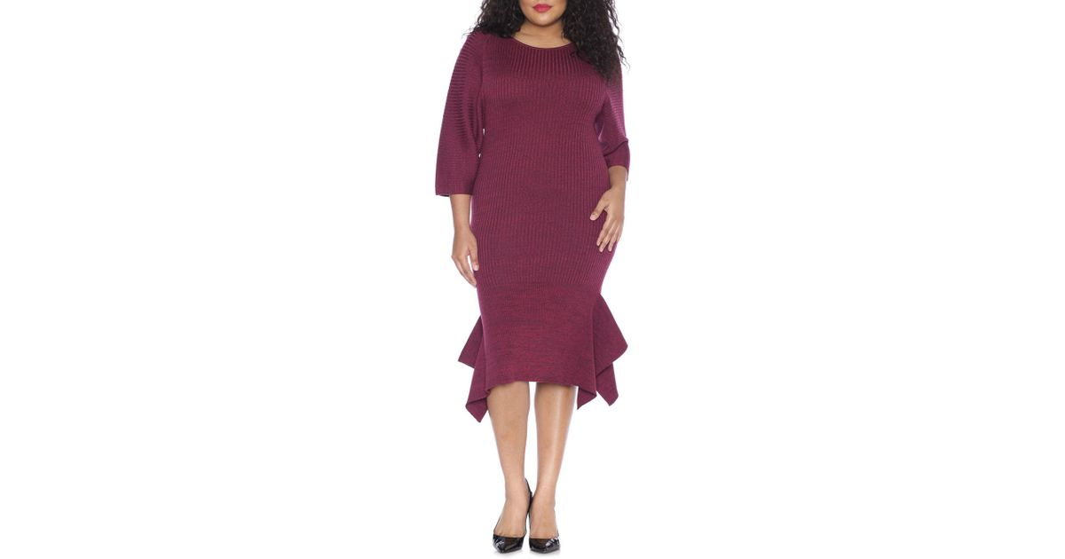 00019adabe7 Lyst - Slink Jeans The Sweater Dress With Ruffle Hem in Purple - Save  40.816326530612244%