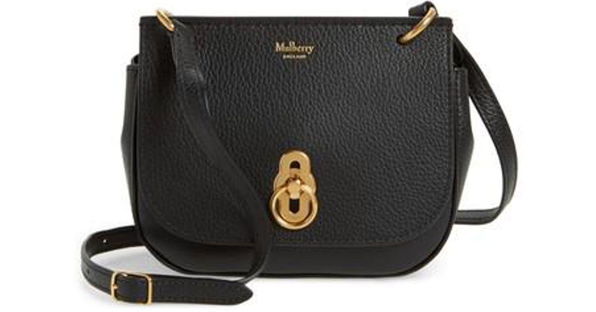 dd63d5607359 Lyst - Mulberry Mini Amberley Calfskin Leather Crossbody Bag in Black