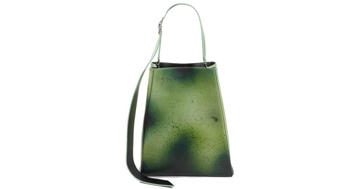 d185d8f0dcca Calvin Klein 205w39nyc Large Distressed Leather Bucket Bag In Green