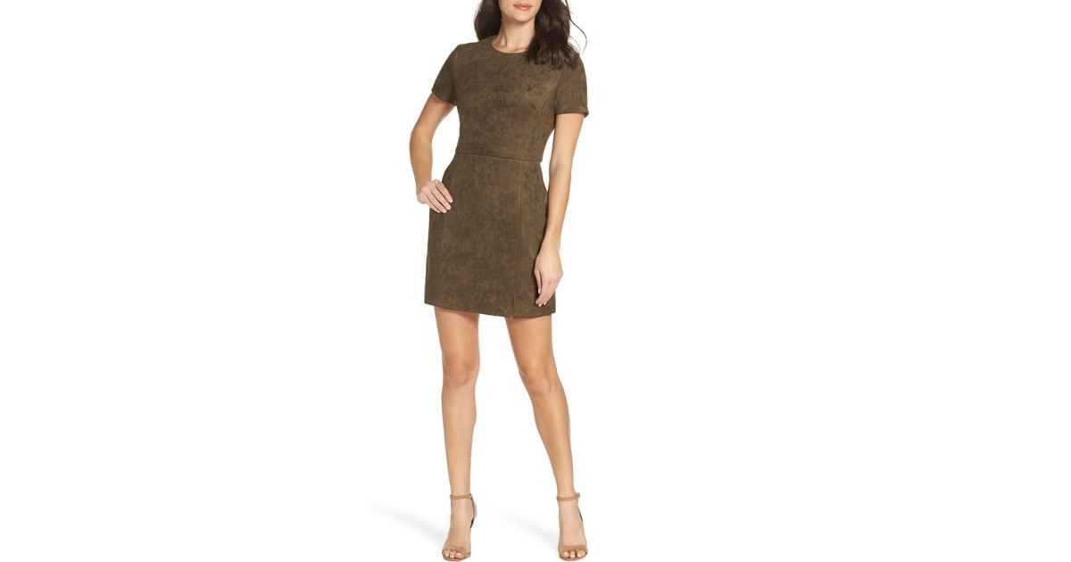 d3125181559 French Connection Short Sleeve Faux Suede Dress in Brown - Lyst